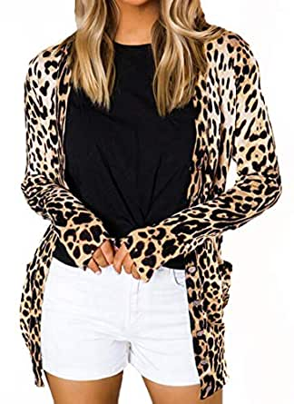 Minclouse Women's Leopard Print Long Sleeve Button Front Open Front Loose Cardigans with Pocket (Small, Apricot)