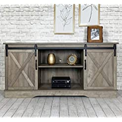 Farmhouse Living Room Furniture Rainbow Sophia Farmhouse Sliding Barn Door TV Stand for TVs up to 65″, Home Living Room Entertainment Center, Wood Storage Cabinet with Doors and Shelves, Washed Oak farmhouse tv stands