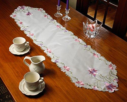 (Violet Linen Seville Embroidered Vintage Lace Design Table Runner, 14