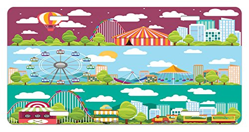 Ambesonne Circus License Plate, Conceptual City Banners with Carousels Slides and Swings Ferris Wheel Attraction, High Gloss Aluminum Novelty Plate, 5.88 L X 11.88 W Inches, Multicolor