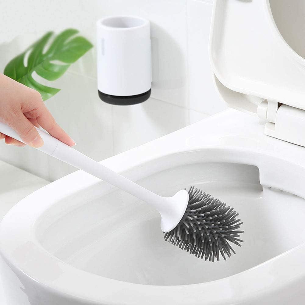 Lurowo Brosse de Toilette WC en Silicone Antibact/érienne Balayette /à Manche Long avec Support /à S/échage Rapide pour la Salle de Bain et la Salle de Toilette 43 cm