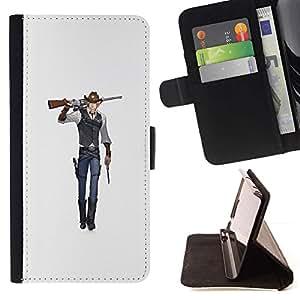 Momo Phone Case / Flip Funda de Cuero Case Cover - Arte del animado del vaquero arma de combate de la historieta - Samsung Galaxy J3 GSM-J300