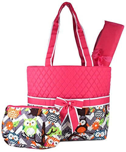 NGIL Owl Print Quilted Diaper Bag (Pink) ()