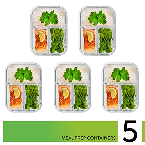 [5-Pack] Glass Meal Prep Containers 3 Compartment - Bento Box Containers Glass Food Storage Containers with Lids - Food Prep Containers Glass Storage Containers with lids Lunch Containers by Prep Naturals (Image #1)