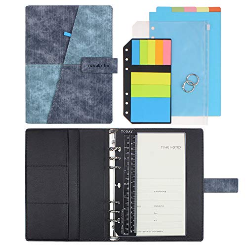 (SynLiZy A5 PU Leather Personal Organizer Undated Planner (A5 Grey-Blue) 7.36