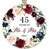 "2018 Christmas Ornament 45 Forty-Five Years Couple Married Mr. & Mrs. Keepsake Present 45th Wedding Anniversary Husband & Wife Pretty Ceramic Holiday Gift Porcelain 3"" Flat with Gold Ribbon Free Box"