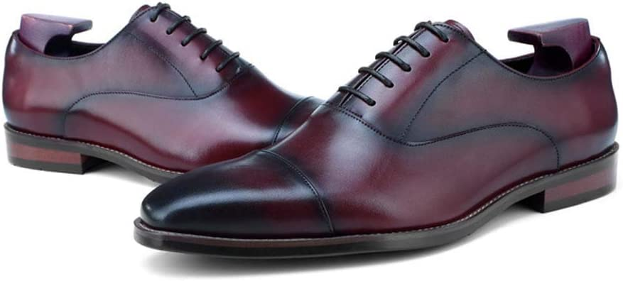 MISS/&YG Mens Office Shoes Leather Dress Shoes with Retro Business Shoes