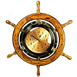 24 Exclusive Pirate's Nautical Ship's Steering Wheel Styled Porthole Clock | Lavish Wall Decor Gifts & Collectible | Nagina International
