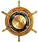 Cheap Nagina International 24″ Exclusive Pirate's Nautical Ship's Steering Wheel Styled Porthole Clock | Lavish Wall Decor Gifts & Collectible