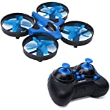 Phetron Mini RC Quadcopter Drone 2.4Ghz 4 Channels 6-Axis Gyro Anti-Crush UFO Helicopter with BONUS Battery - Brilliant LED Lights (Blue)