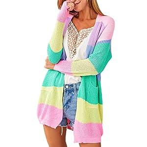 YOINS Gilet Femme Tricoté Cardigan Automne Hiver Gilet Long Manches Longues Pull Longue Cardigan Femme avec Poches