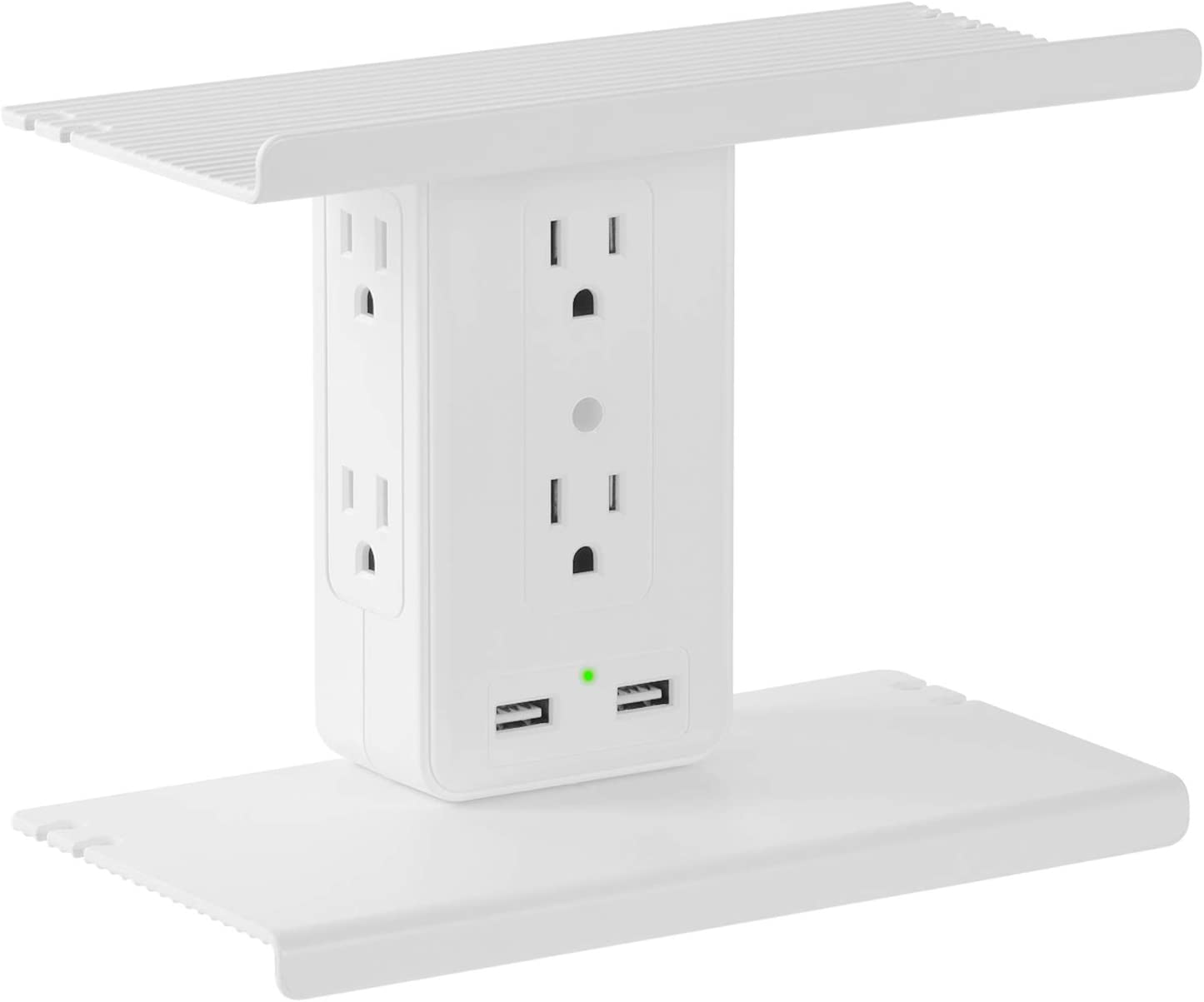 Wall Outlet Shelf - REXIAO 8 Port Socket Organizer Wall Surge Protector, 6 Electrical Outlet Extenders, 2 Usb Charging Ports, Small Multi Plug Outlet Shelf with Usb Ports