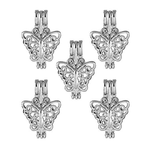 (5X Silver Plated Hollow Butterfly Pearl Beads Cage Pendant DIY Necklace Jewelry)