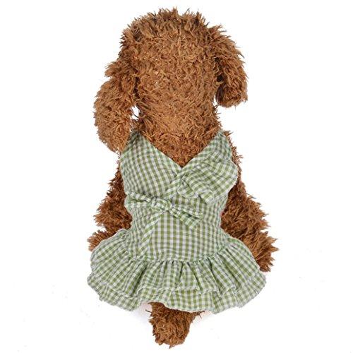Wakeu Small Dog Girl Dress Pet Puppy Plaid Vest Shirt Tutu Skirt Clothes (S, Green)