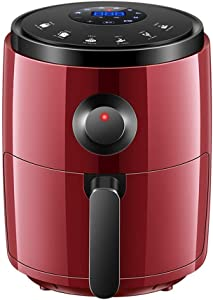 GSAGJzg 3.2L Electric Oilless Air Fryer for Healthy Low Fat Cooking with Adjustable Temperature Control and 30min Timer, 1200W, Digital Touchscreen, Nonstick Basket, 8 Programme, Red