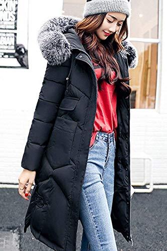 Femme Doudoune Taille Noir Longue Parka Elgante Outdoor Manteau dWqng8dx
