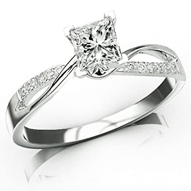 9ab2ea6cbaac26 0.33 Carat Princess Cut Elegant Twisting Split Shank Diamond Engagement Ring  (I-J Color, VS1