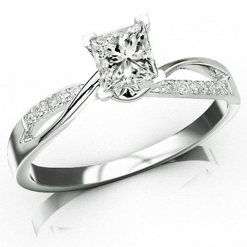 0.33 Carat Princess Cut Elegant Twisting Split Shank Diamond Engagement Ring (I-J Color, VS1-VS2 Clarity)