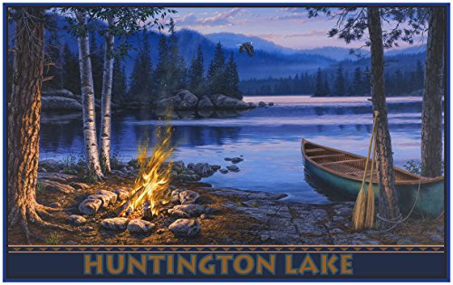 Huntington Lake California Lake Canoer with campfire Travel Art Print Poster by Darrell Bush (30