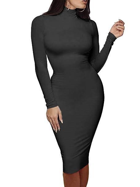 238476ca596b SINRGAN Women s Turtleneck Long Sleeve Sexy Slim Fit Bodycon Club Midi  Dress Black
