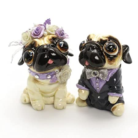 Pug Wedding Cake Topper P00027 Clay Sculpted Hand Painted