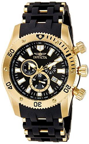 Invicta Sea Spider Men's 0140 Collection Gold Ion-Plated, Black 18k Polyurethane Watch