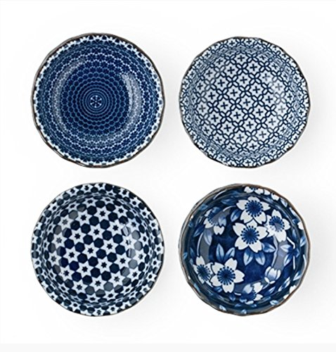 - Blue and White Sauce Dish Set 3.75 in. Diameter
