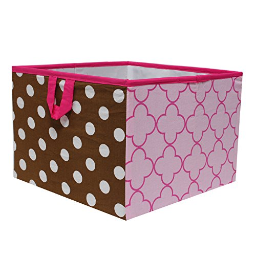 Bacati Butterflies/Ladybugs Storage Box, Pink/Chocolate, Large