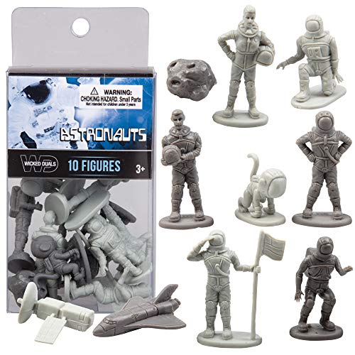 (SCS Direct Wicked Duals Mini Astronaut Figures Playset 10 pc Toy Collection - Unique Sculpted Space Action Figures for Party Favors, Dioramas, Decorations and)