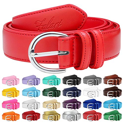 (Falari Women Genuine Leather Belt Fashion Dress Belt With Single Prong Buckle 6028-Red-M)