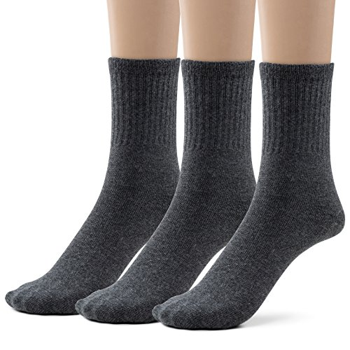 Boys Cotton Ribbed Crew Dress Socks (Extra Large (10-13), Heather Grey)