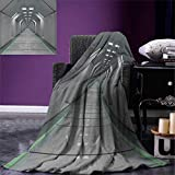 Futuristic Digital Printing Blanket Sci-Fi Corridor Inside Space Station Ship Laboratory Technology Fiction Picture Art Summer Quilt Comforter 80''x60'' Green