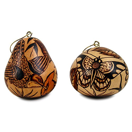 Set Hummingbirds Butterflies Two Pack Gourd Carved Fair Trade Peru Hand Carved Ornament Decoration ()