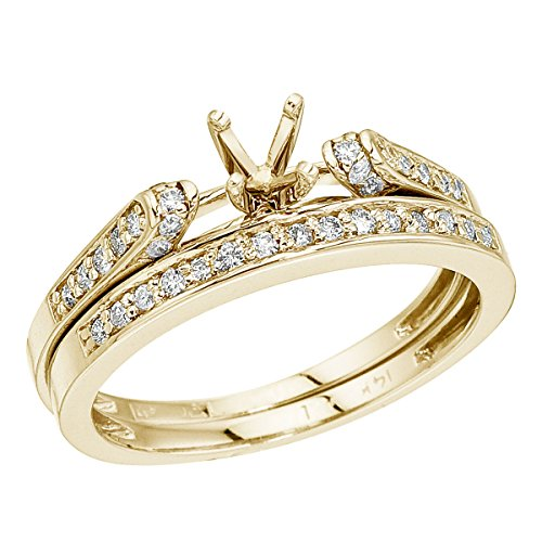 0.23 Carat ctw 14k Gold Round White Diamond Bridal Set Semi-Mount Engagement Ring Matching Wedding Band - Yellow-gold, Size 10
