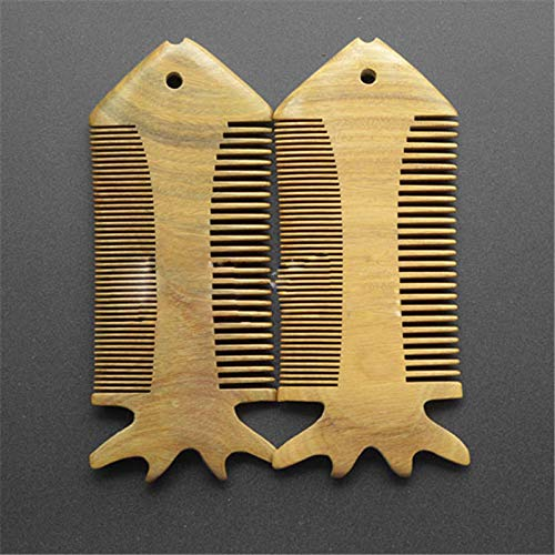 CoCocina 2 Colors Sandal Wood Hair Comb Flatfish Shaped Pocket Beard Comb - #02