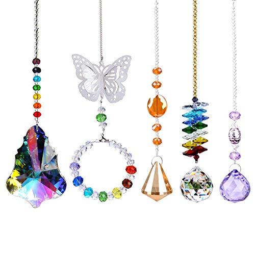 SunAngel Colorful Jewelry Crystals Pendants &Chandelier Suncatchers Prisms Hanging Ornament Prisms Rainbow for Home,Office,Garden Decor (5 Packs) (Ornaments Hanging Crystal Garden)