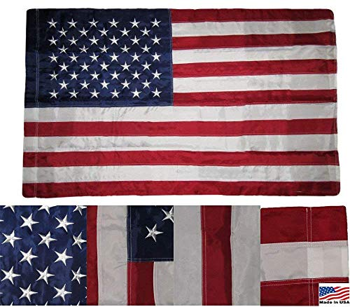 3x5 Embroidered USA American Pole Sleeve Nylon Flag 3x5 (Made in USA) Banners - Vivid Color and UV Fade Resistant - Prime Outside Garden Home ()