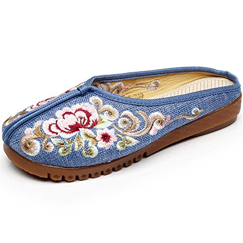 Women's Flat Canvas Sneakers Floral Comfortable Shoes Blue Casual - 6
