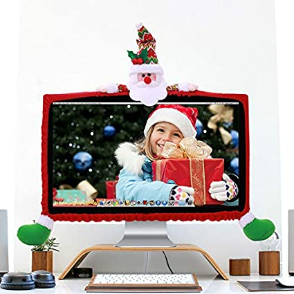 Amazon Com Christmas Computer Monitor Cover Elastic Computer Cover