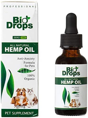 BIO DROPS Hemp Oil for Dogs and Cats – 500 mg Great for Anxiety, Tension, Arthritis Pain, Hip and Joint Pain 1 OZ