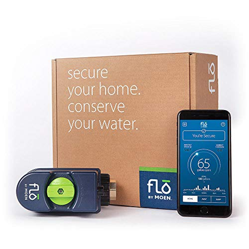 Moen 900-001 Flo Leak Detection Smart Home Water Security System, Alexa-Enabled, or or Unfinished ()