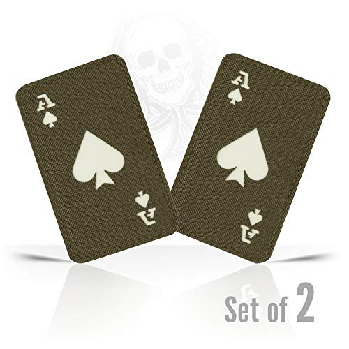 M-Tac Ace of Spades Death Card Tactical Morale Patch Army Combat Hook Fasteners (Ranger Green/GITD 2 pcs.)
