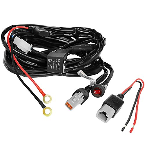 Primelux Universal 12ft Relay Wiring Harness for LED Light Bars Driving Lights Fog Lights Work Lights -1 Lead(1x25A/14AWG)