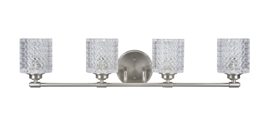 Aspen Creative 62059, Four-Light Metal Bathroom Vanity Wall Light Fixture, 31 1 2 Wide, Transitional Design in Brushed Nickel with Clear Glass Shade