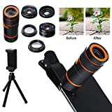COREYCHEN Universal 6 in 1 Mobile Phone Camera Lens Kit Universal Cell Phone Camera Lens Smartphone Telephoto Lens with Tripod Cell Phone Camera Zoom Lens Kit for iPhone 7, 8, X, 6s Plus, Samsung S8