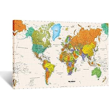 Amazoncom New Ikea Premiar World Map Picture with Framecanvas