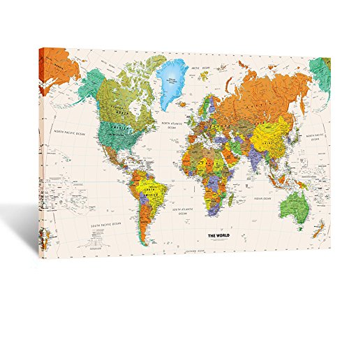 Kreative Arts - Large Size World Map Wall Art Framed Art Print Picture Wall Decor Home Interior - Map Picture for Office Wall Decor (Stretched Canvas) (Large Map Of The World Canvas)