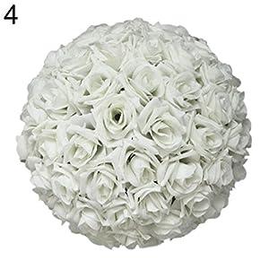 Aland 8 Inch Wedding Artificial Rose Silk Flower Ball Hanging Decoration Centerpiece 112