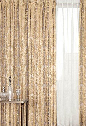 アスワン トラディショナルなアラベスク調のデザイン カーテン2倍ヒダ E6139 幅:250cm ×丈:180cm (2枚組)オーダーカーテン 180  B078C7RVY2