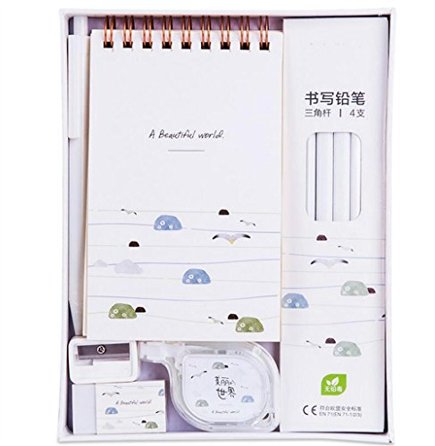 Easyflower Convenient Practical School Stationary Writing Set 9Pcs Students Stationery Set Children Gift Sets(White) -